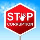 Pare a corrupção indica o sinal de aviso e a corrupção ilustração royalty free