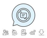 Pare de falar a linha ícone Mensagem ou SMS do bate-papo ilustração stock
