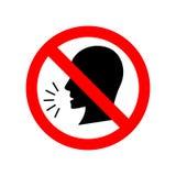 Pare de falar o sinal vermelho do círculo ilustração royalty free
