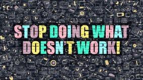 Pare de fazer o que não trabalha em multicolorido Projeto da garatuja ilustração royalty free