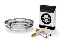Pare de fumar a campanha, cigarros, cinzeiro, caixa de charuto ilustração do vetor