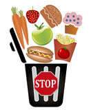 Pare de jogar o alimento afastado ilustração royalty free
