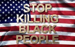 Pare de matar pessoas negras do slogan no fundo da bandeira americana fotografia de stock royalty free