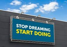 Pare de sonhar fazer do começo imagens de stock royalty free