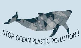 Pare de trashing nosso oceano ilustração do vetor