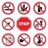 Pare drogas Coleção do sinal da proibição das drogas ilustração do vetor