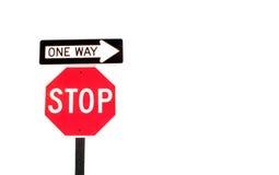 Pare e vá one-way Imagem de Stock