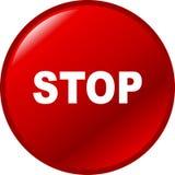 Pare el botón rojo del vector Fotos de archivo