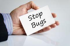 Pare el concepto del texto de los insectos imagenes de archivo