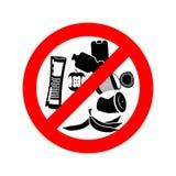 Pare el dejar en desorden Basura de la prohibición Se prohíbe para dejar en desorden circ rojo Fotos de archivo libres de regalías