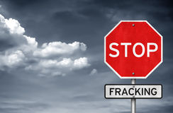 Pare el fracking Foto de archivo
