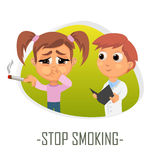 Pare el fumar de concepto médico Ilustración del vector Imágenes de archivo libres de regalías