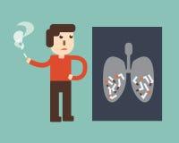 Pare el fumar - radiografía de un tórax humano con el cigarrillo Foto de archivo