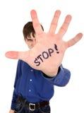 Pare el gesto de la palma Foto de archivo