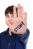 Pare el gesto de la palma Fotos de archivo