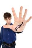 Pare el gesto de la palma Foto de archivo libre de regalías