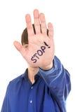Pare el gesto de mano Fotos de archivo