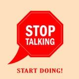 Pare el hablar del cartel del vector Imagen de archivo libre de regalías