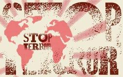 Pare el terror Cartel tipográfico de la protesta del grunge Ilustración del vector Fotos de archivo libres de regalías