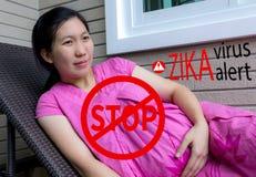 Pare el virus del zika Concepto médico y virus d del miedo del embarazo de Zika Imágenes de archivo libres de regalías