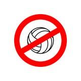 Pare el voleibol Juego de equipo prohibido Muestra roja de la prohibición CRO (coordinadora) Fotografía de archivo libre de regalías