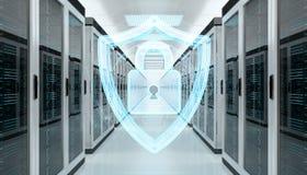 Pare-feu activé sur le rendu du centre de traitement des données 3D de pièce de serveur Photo stock