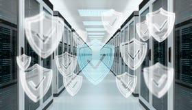 Pare-feu activé sur le rendu du centre de traitement des données 3D de pièce de serveur Photographie stock libre de droits