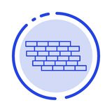 Pare-feu, sécurité, mur, brique, ligne pointillée bleue ligne icône de briques illustration de vecteur