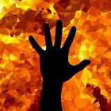 Pare a guerra Parando a silhueta da mão humana no fundo de uma chama ardente Imagens de Stock Royalty Free