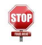 pare, ilustração do sinal de estrada da fraude adiante Imagens de Stock Royalty Free