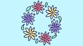 Pare la animación del movimiento con la guirnalda floral redonda, creciendo la naturaleza en fondo azul, modelo botánico florecie libre illustration