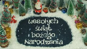 Pare la animación del movimiento del polaco de Narodzenia del ego del ¼ del wiÄ… t BoÅ del› del ych Å del 'de WesoÅ, en Feliz Nav imágenes de archivo libres de regalías
