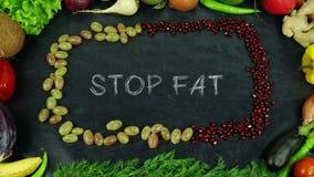 Pare la fruta gorda paran el movimiento imagenes de archivo