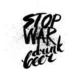 Pare la guerra Letras Handdrawn de la tinta del cepillo Fotografía de archivo libre de regalías