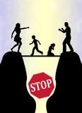 Pare la lucha de la familia ilustración del vector