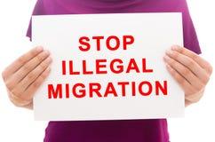 Pare la migración ilegal Foto de archivo libre de regalías