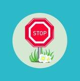 Pare la muestra con diseño plano de la hierba y de las flores stock de ilustración
