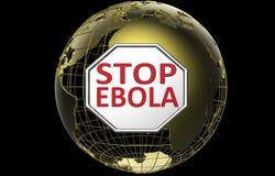 Pare la muestra de Ebola sobre el globo de oro del mundo Imágenes de archivo libres de regalías
