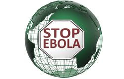 Pare la muestra de Ebola sobre el globo verde del mundo Foto de archivo libre de regalías