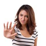 Pare la muestra de la mano de la mujer enojada Imágenes de archivo libres de regalías