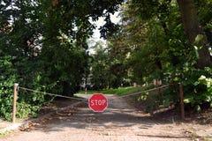 Pare la muestra en un camino forestal Fotos de archivo