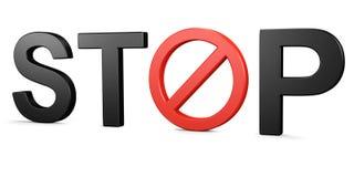 Pare la muestra prohibida texto Imagenes de archivo