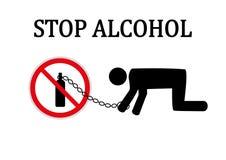 Pare la muestra redonda roja del alcohol Fotos de archivo