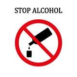 Pare la muestra redonda roja del alcohol Foto de archivo
