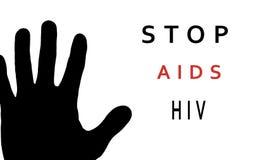 Pare la muestra SIDA: mano negra en el fondo blanco Imágenes de archivo libres de regalías