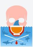 Pare la sopa finning del tiburón Cartel subacuático del color del vector Imagen de archivo