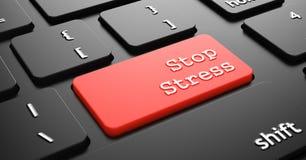 Pare la tensión en el botón rojo del teclado Imágenes de archivo libres de regalías