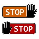 Pare las escrituras de la etiqueta del gesto de mano Imágenes de archivo libres de regalías