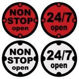 Pare não aberto e twenty-four sete abertos Ilustração Stock