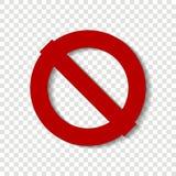 Pare o ícone do vetor O círculo cruzado-para fora Sinal vermelho do batente aviso ilustração stock